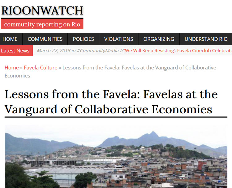 Rio on Watch:  Lessons from the Favela: Favelas at the Vanguard of Collaborative Economies